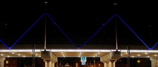 Nachtansicht Eisenbahnbrücke Obereiderhafen Rendsburg