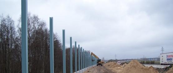 10-059 - Lärmschutzwände im Zuge der BAB A 23 - Foto 3 - Einbau der Wandsockel